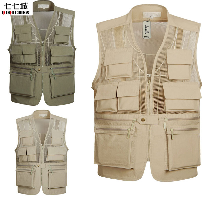 Summer New Breathable Mesh Vest Men Casual Solid Sleeveless Vest Waistcoat With Many Poc ...