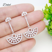 DOKOL Exquisite Semicircle Shape Drop Earrings Inlay Sparkling AAA+ CZ Bridal Earring Silver Color Wedding Jewelry DKE0052