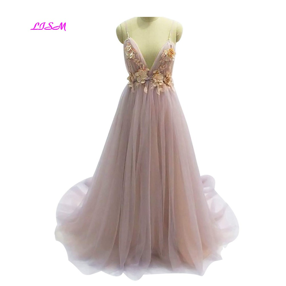 Robe De Soiree Sexy Backless Long Evening Dresses Bride Banquet Elegant A-Line Prom Dress 3D Flowers Tulle Special Occasion Gown