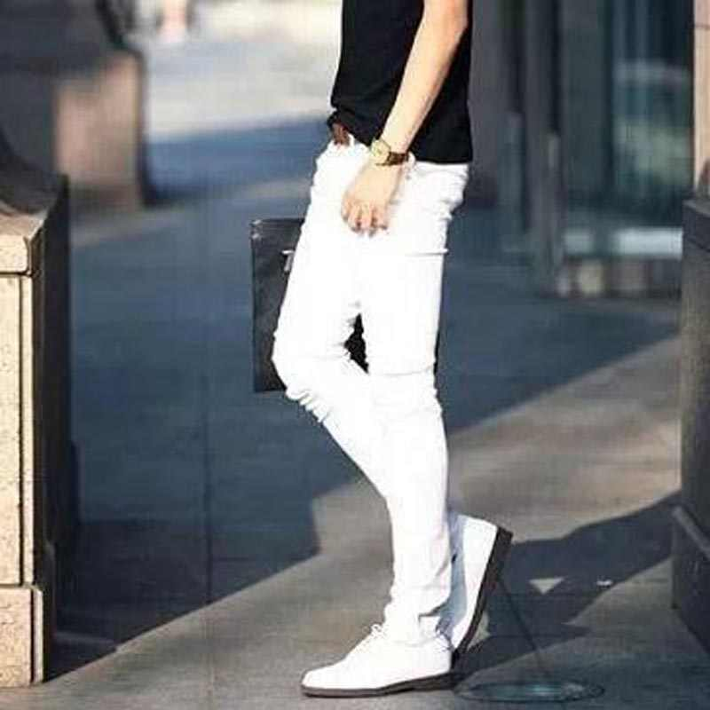 ee70d1bec8 ... NEW 2019 indoor Solid Casual white boys hip hop jeans men teenager  pencil pants skinny students ...