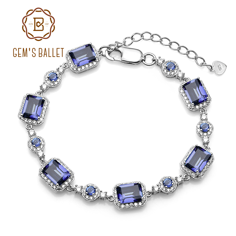 GEM S BALLET 6x8mm Natural Iolite Blue Mystic Quartz 925 sterling silver Gemstone Chain Link Bracelet