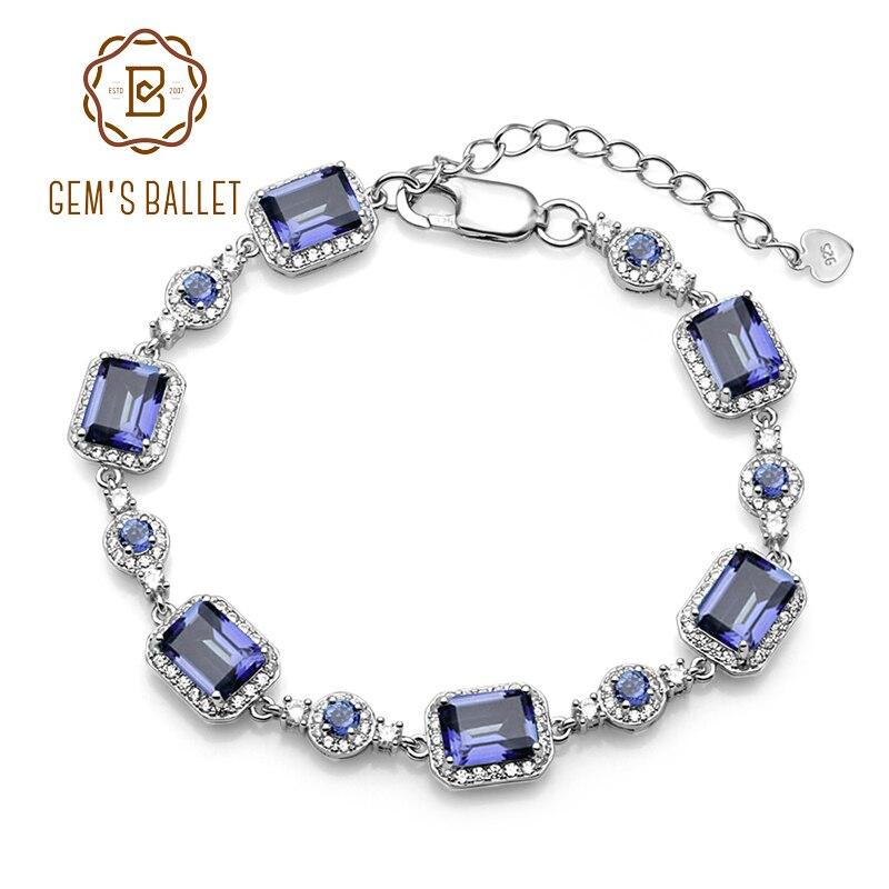 BALLET de GEM'S 6x8mm naturel Iolite bleu mystique Quartz 925 en argent sterling pierres précieuses chaîne lien Bracelet pour les femmes bijoux fins