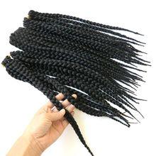 Feibin коробка, вязанные крючком косички, наращивание волос, синтетические косички, наращивание волос