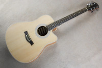 Firehawk 41 inch Cutaway Natural Color Acoustic Guitar with Rosewood Fretboard,Can Add Fishiman Pickups,White binding