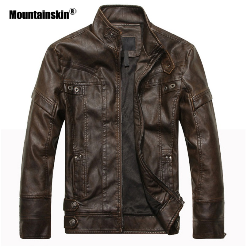 Mountainskin Men's Leather Jackets Motorcycle PU Jacket Male Autumn Casual Leather Coats Slim Fit Mens Brand Clothing SA588 5