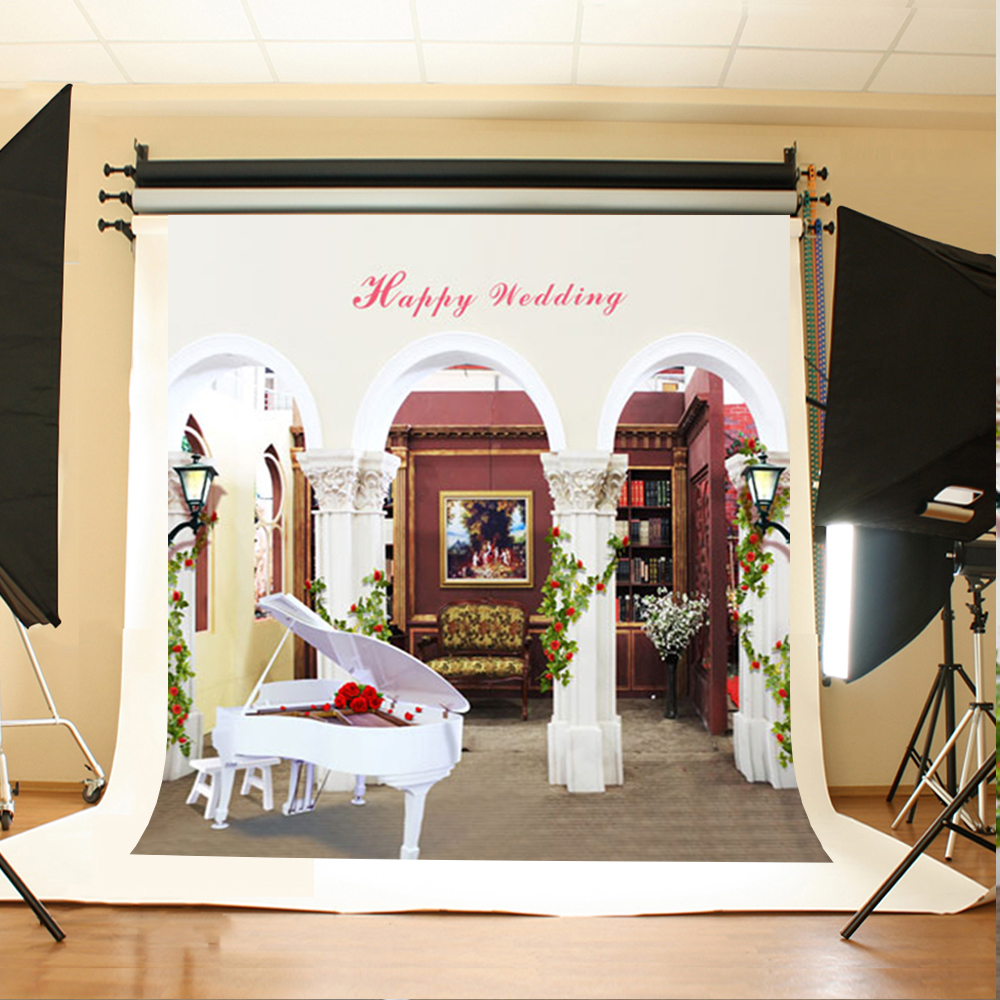 Wedding Photo Backdrops White Piano Flowers Computer Printing Background Bookcase Chair Green Leaf Backgrounds for Photo Studio акустика центрального канала paradigm studio cc 490 v 5 piano black
