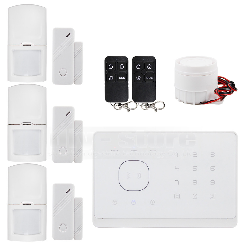 DIYSECUR Wireless Wired GSM Home Security Burglar font b Alarm b font System IOS Android App