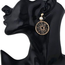 CRLEY Gold Color Dream Catcher Dangle Drop Earrings for Women Stone Beads Wedding Jewelry Tassel Statement Round