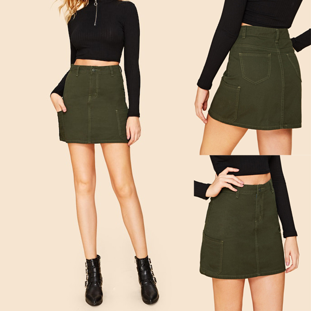 2020 Women Casual Fashion Office Sexy Army Green High Waist Skirt Summer Style Single Button Pockets Cotton Mini Skirts 50