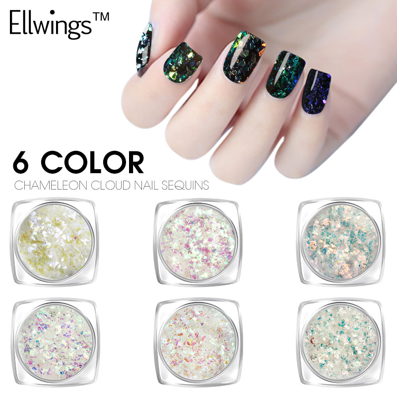 Ellwings Magic Starry Sky Mirror Effects Nail Art Glitter Chameleon Nail Sequins Cloud Paillette Irregular Powder