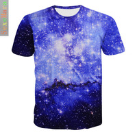A Piece Of Amazon New Product 3D Printing T Pity Blue Starry Sky Cloud Male Fund