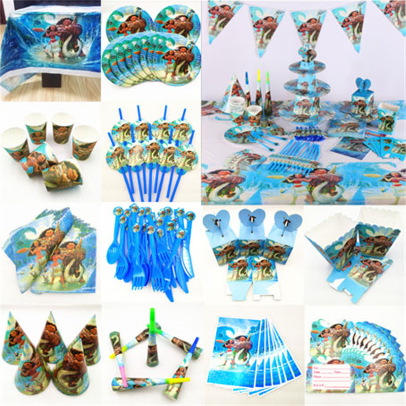 Kids Birthday Moana Party Supplies Decoration Tablecloth Cup Plate Straw Napkin Cap Gift Bag Candles Candy Popcorn Box Card