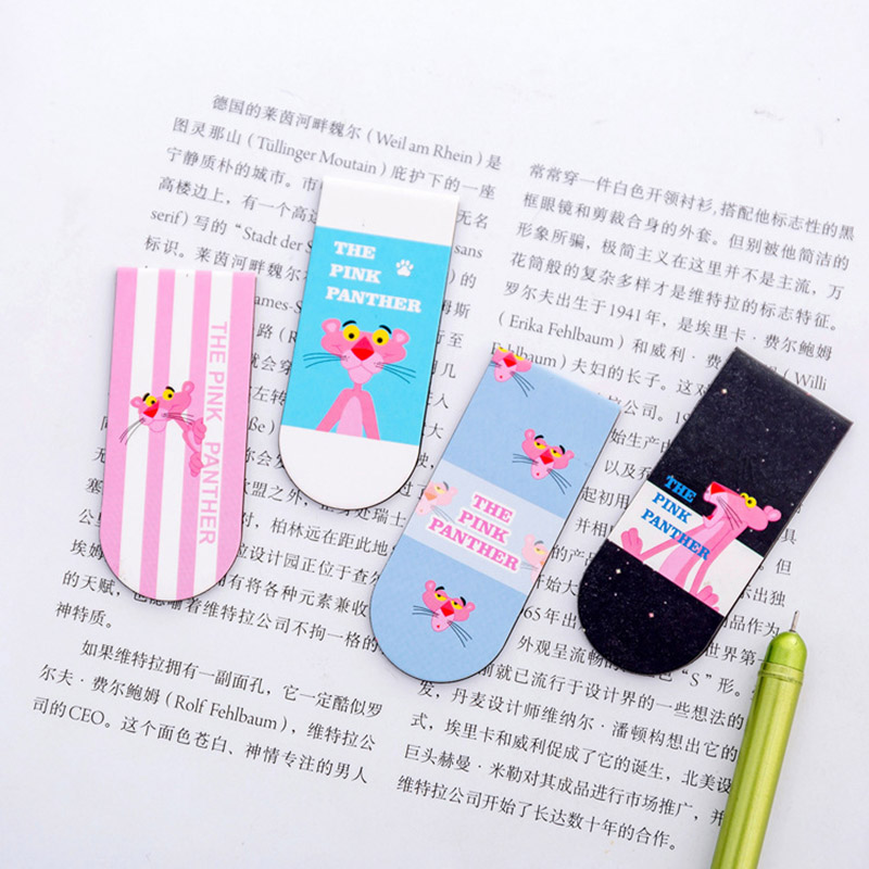 Cute Kawaii Cartoon Animal Pink Panther Magnetic Bookmarks School Supplies Paper Clip Creative Korean Stationery For Kids Gift