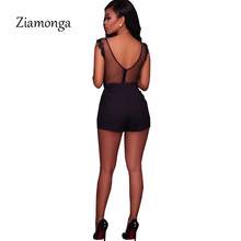 Sexy Black Lace Bodysuit Women O-Neck Mesh Jumpsuits Romper Backless Embroidery Ladies Body Dentelle Shorts Playsuits