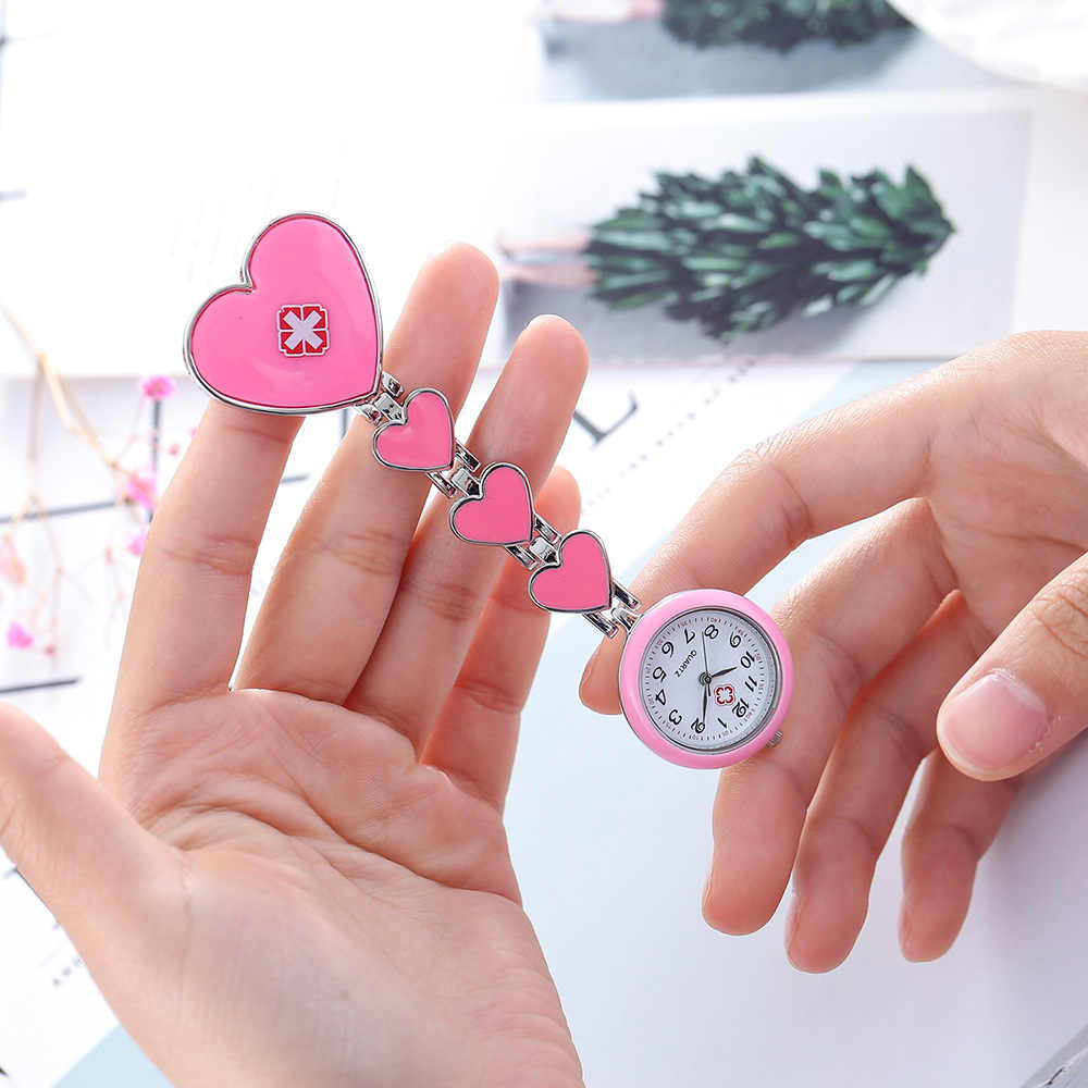 2019 white angel nurse watch I learn nurse medical brooch portable personality modeling red cross quartz pocket watch love