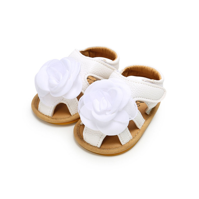 2019 Cute Flower Baby Girls Summer Sandals Infant Toddler Shoes Solid Sole Baby Girls First Step Shoes Bebe Moccasins PU Leather 5