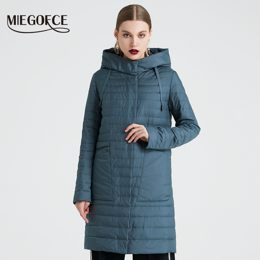 MIEGOFCE 2019 Spring And Autumn Women s Coat Windproof Hooded Women s Trench Simple Thin Spring