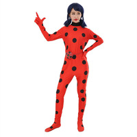 Miraculous Ladybug Suit Cosplay Costumes Halloween Girls Marinette Ladybug Jumpsuits Kids Adult Full Lycra Zentai Suit