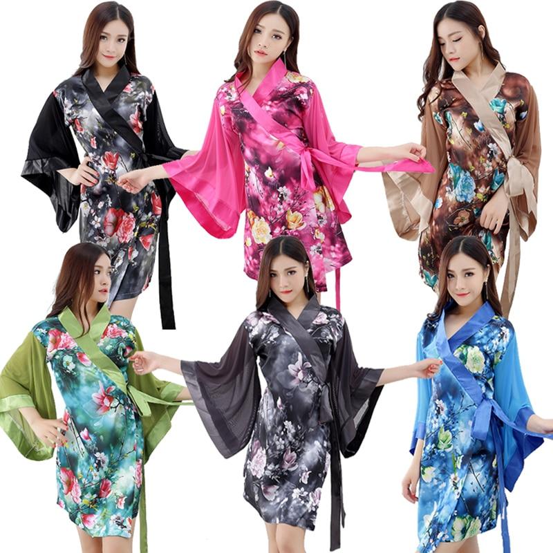 Adult Women Japanese Kimono Satin Robes Silk Wrap Dress Black Pink Exotic Sleepwear Long Sleeve Nightgown For Ladies