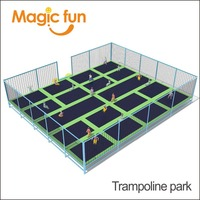 MAGIC FUN Indoor Trampoline Park with Dodgeball with Basketball with Foam Pit and Ninja Course