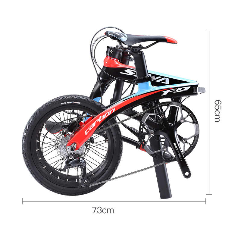 Folding Bike SAVA 16 inch Carbon Fiber Child BIKE Mini City Foldable Bicycle with SHIMANO SORA 3000 9 Speed Groupset disc brake