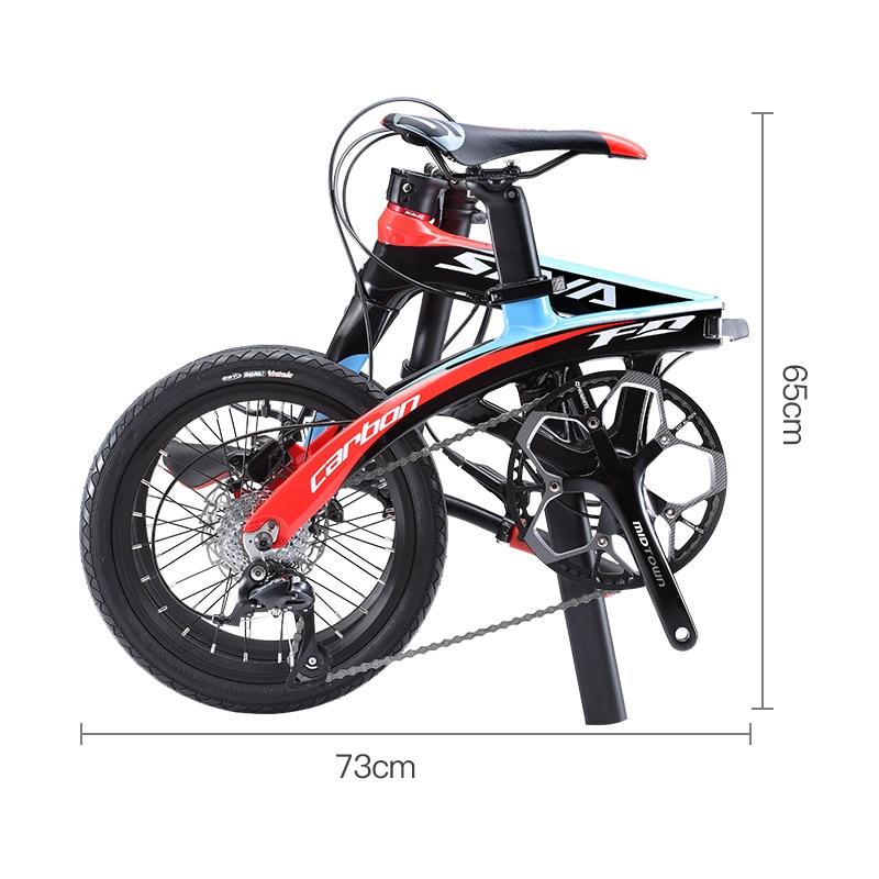Folding Bike SAVA 16 Inch Carbon Fiber Child BIKE Mini City Foldable Bicycle With SHIMANO SORA 3000 9 Speed Groupset Disc Brake
