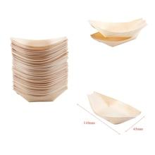 """50x пальчиковые миски, """"лодка"""" Биоразлагаемые деревянные бумажные тарелки для вечеринки"""