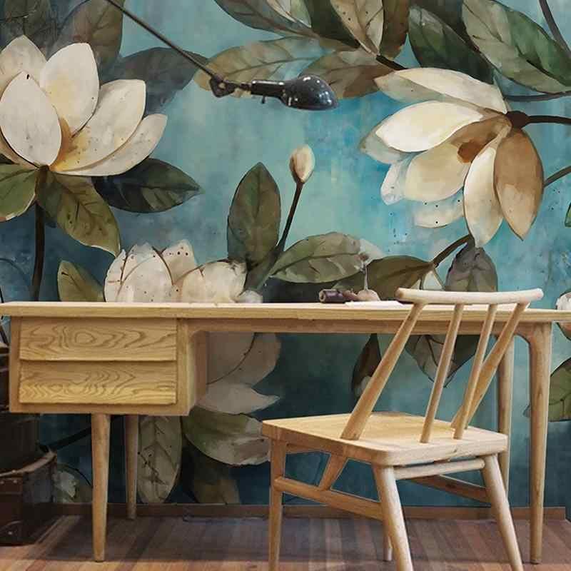 Custom Wall Cloth 3D White Lotus Retro Oil Painting Photo Mural Wallpaper Living Room Bedroom Restaurant Wall Covering 3D Decor