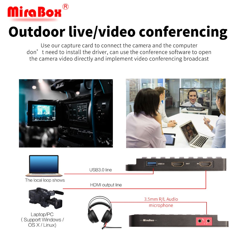 MiraBox Capture Card, 4K 30FPS,HD 1080P 60FPS,USB3 0 HDMI Game Video  Capture Card with Mic Input and HDMI Passthrough