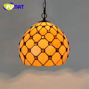 "Image 5 - FUMAT Pendant Light modern Mediterranean Creative Tiffany Stained Glass living room 12 "" Sunflower Home Deco Art Chandelier Lamp"