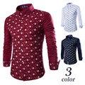 Joker hombres jóvenes de nuevo fondo de 2017 inviernos del otoño es el recreo esqueleto estrellas impresión camisetas de manga larga de Vino rojo