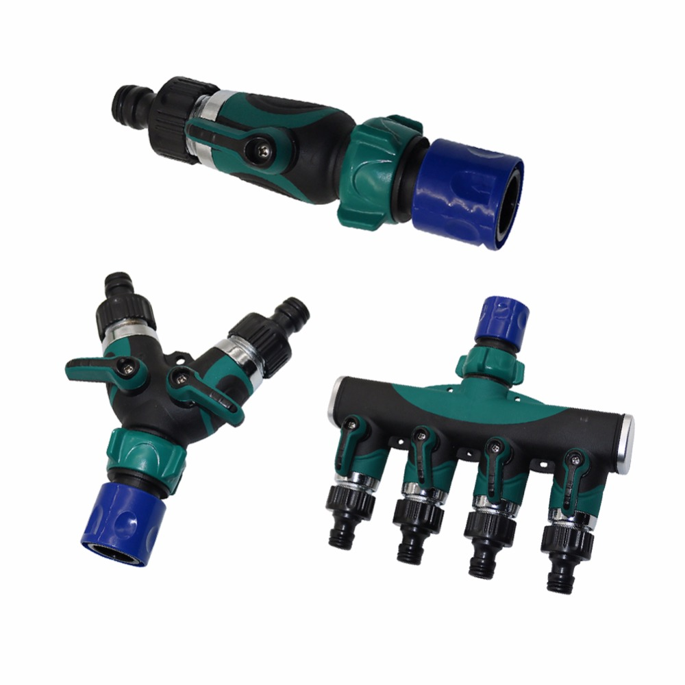 1 Set Water Kits 3/4 Inch American Standard Thread Straight Y Shapeed 4 Way Connectors Garden Irrigation System Fittings