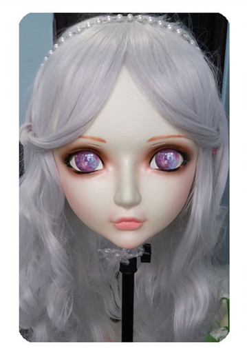 Precise Women/girl Sweet Resin Half Head Kigurumi Bjd Mask Cosplay Japanese Anime Lifelike Lolita Mask Crossdressing Sex Doll dm026