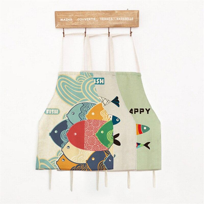 56x68 Cm Vis Patroon Schort Modieuze Japan Stijl Vintage Keuken Koken Bakken Schorten Voor Volwassenen