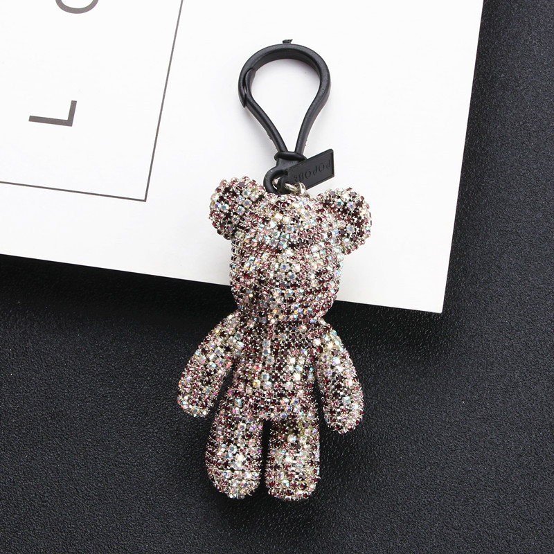 Bomgom Rhinestone Cartoon Gloomy Bear Keychain Car Tassel Key Chain Ring Holder Pendant For Bag Charm Chaveiro llaveros mujer in Key Chains from Jewelry Accessories