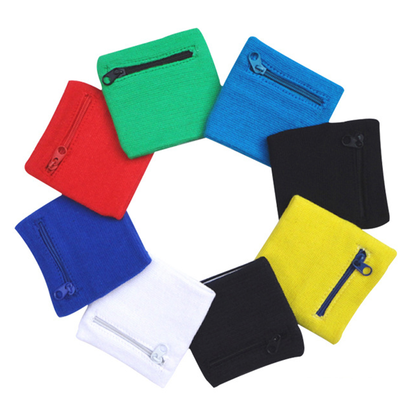 1Pc Zipper Pocket Cotton Wristband Outdoor Sweatband Arm Band Wrist Support Wristband Zipper Wraps Sport Strap Wrist Protect P15