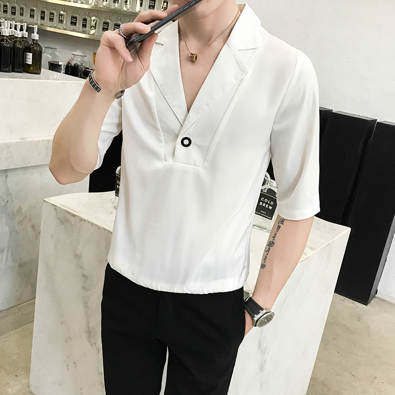 Nightclub Shaoye clothing trend fashion V neck loose T shirt summer men 39 s short sleeved barber shop hair stylist tooling t shirt in T Shirts from Men 39 s Clothing