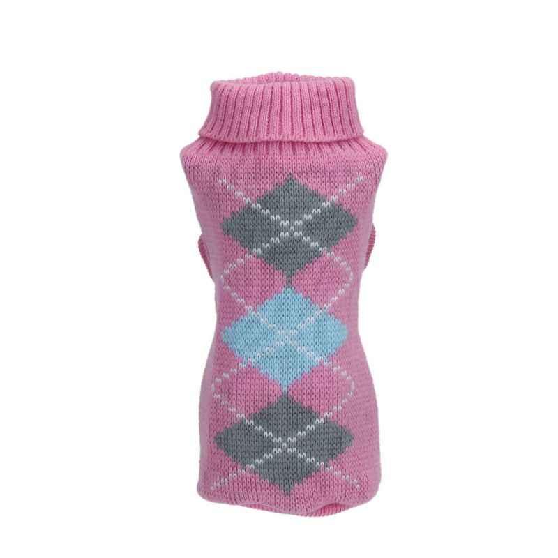 Одежда для домашних животных, жаккардовый вязаный клетчатый свитер со щенком, джемпер для домашних животных, нарядная одежда для собак #74