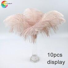 Toptan 10 adet/grup bebek pembe devekuşu tüyleri el sanatları için 35 40CM karnaval kostümleri parti ev düğün süslemeleri tüyleri
