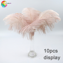 Wholesale 10 Pcs/Lot baby pink Ostrich Feathers For Crafts 35 40CM Carnival Costumes Party Home Wedding Decorations Plumes