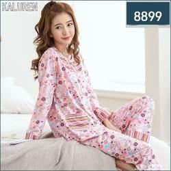 Бесплатная доставка; Весна 4XL большой Для женщин большой Размеры 100% хлопок длинные рукава, длинные штаны пуловеры пижамы Установить Ночная