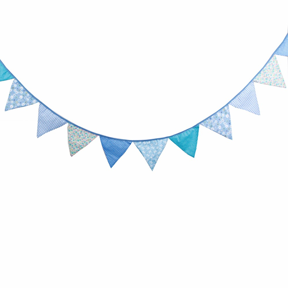 High Quality 3 2m Cotton Banner Blue Flags Garland For