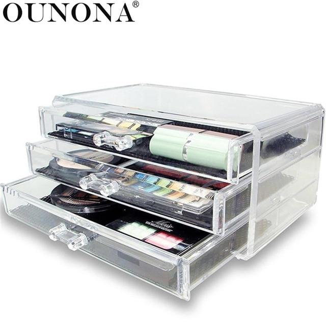 Acrylic 3 Layer Make Up Storage Box Makeup Organizer 3 Drawers