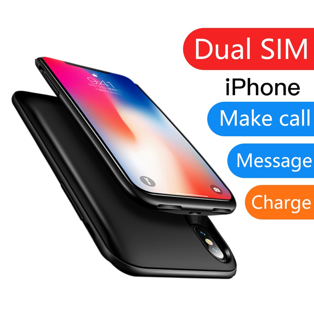 <font><b>Dual</b></font> <font><b>Sim</b></font> Card Adapter Bluetooth Case for <font><b>iPhone</b></font> 6 6S 7 <font><b>8</b></font> Plus X XS Slim <font><b>Dual</b></font> Standby Adapter Two Active <font><b>Sim</b></font> Card Holder image