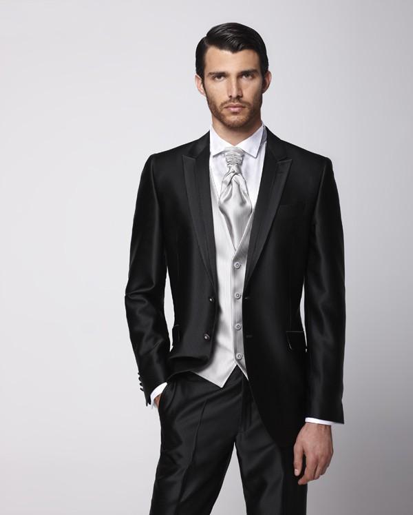 Revers Smoking Meilleur Homme Mariage Maximale veste Pantalon Gilet Garçons  B465 Nouveau Cravate Marié De Style Costumes D honneur dîner Noir Brillant  ... 3ec8e059c3b