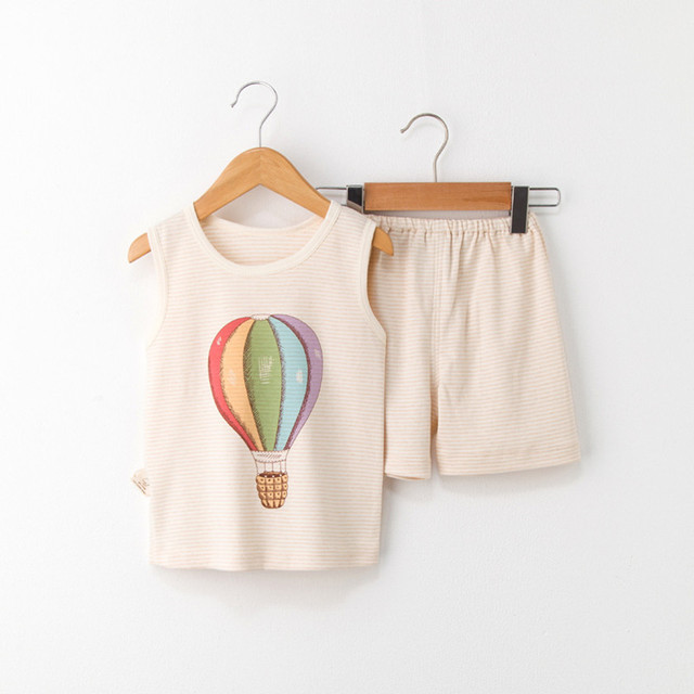 53d9562b9 Baby Boys Clothes 2018 summer boy clothings sets Print Striped Vest+ ...