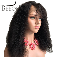 Beeos Lace Front Human Hair Wigs For Women Brazilian Afro Kinky Curly Wig Black Remy Hair Pre Plucked Bleached Knots Baby Hair
