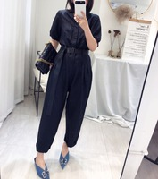 European2019 summer black color one piece bodysuit short sleeve turn down collar with belt long overalls casual jumpsuit pants