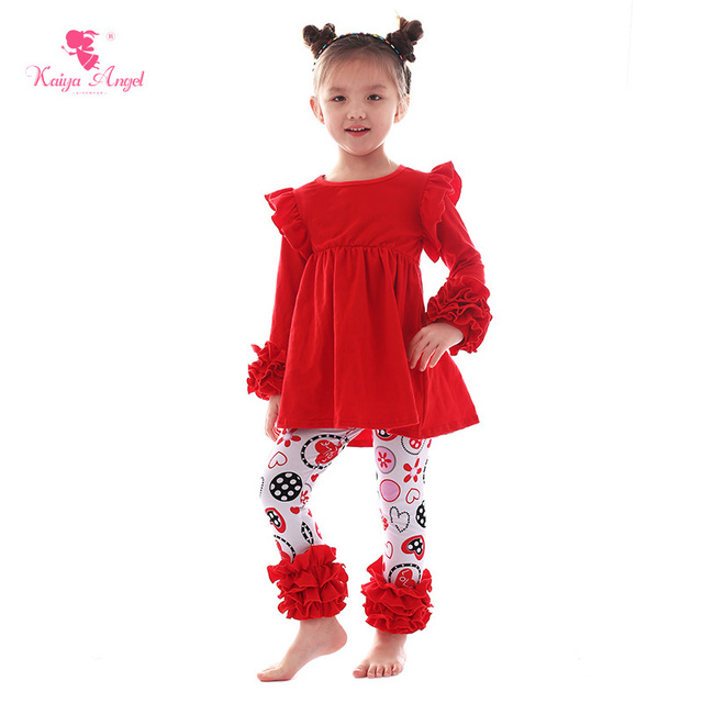 Kaiya Angel Valentine s Day Fashion Christmas Boutique Outfits Toddler Girl  Winter Clothes Sets Children Tracksuits Costume bf76108c989c