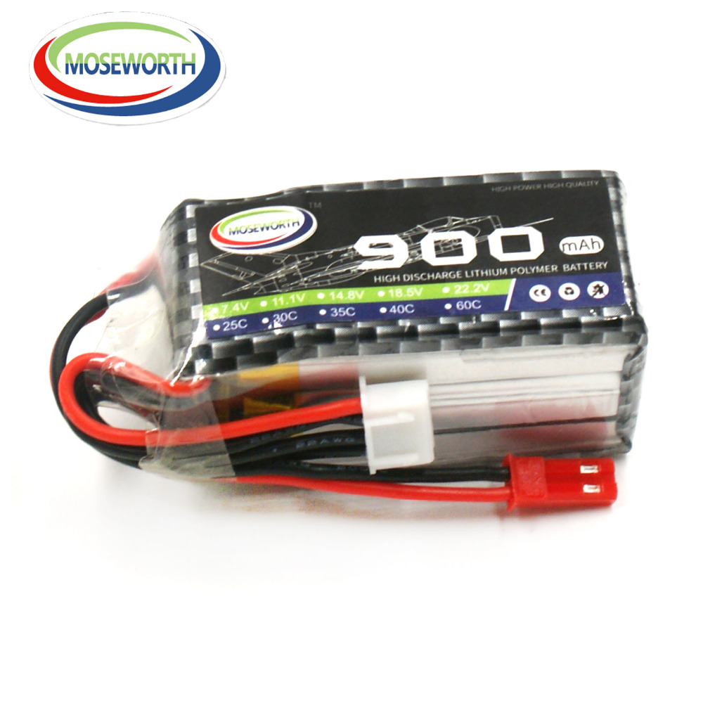 2PCS MOSEWORTH 3S 11.1V 900mah 25C RC Drone LiPo Battery for Airplane Helicopter Quadrotor Car Li-ion(Lithium-ion) Cell